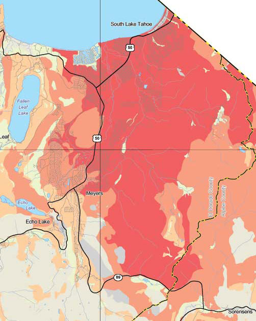 A map showing radon levels in South Lake Tahoe